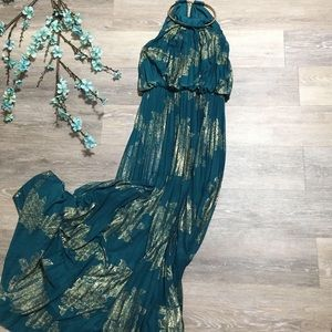 XSCAPE Teal Formal Pleated Maxi Dress Gold